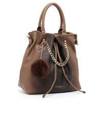 Liu Jo | Gray 'poppa Stripe' Bucket Bag | Lyst