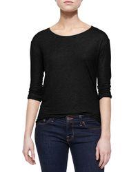 Neiman Marcus | Black Extrafine Long-sleeve Top | Lyst