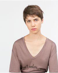 Zara   Pink Text T-shirt   Lyst