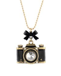 Betsey Johnson - Metallic Camera Long Pendant Necklace - Lyst