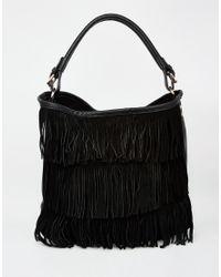 Oasis - Black 2 In 1 Fringed Hobo Bag - Lyst