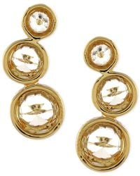 Vince Camuto - Metallic Gold-tone Crystal Circle Stud Earrings - Lyst