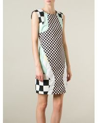 Love Moschino - Black Panelled Check Print Dress - Lyst