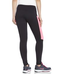 Reebok | Black Pop Panel Performance Leggings | Lyst