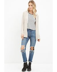 Forever 21 - Natural Drawstring Hooded Cardigan - Lyst