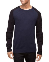 Kenneth Cole | Blue Cotton And Wool Blend Sweater for Men | Lyst