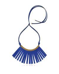 Marni - Blue Fringe Leather Choker - Lyst