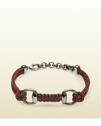 Gucci - Brown Bordeaux Cord Bracelet with Horsebit for Men - Lyst