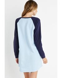 Forever 21 - Blue Fleece Baseball Nightdress - Lyst