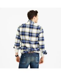 J.Crew | Wallace & Barnes Heavyweight Flannel In Classic Blue Plaid for Men | Lyst