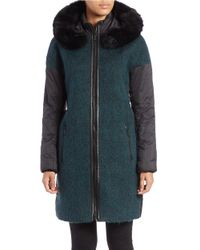Zac Zac Posen | Green Blue Fox Fur-trimmed Coat | Lyst