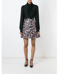 Giamba - Black Floral Jacquard A-line Skirt - Lyst