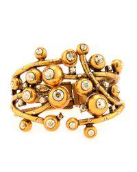 Oscar de la Renta | Metallic Ball & Crystal Hinge Bracelet | Lyst