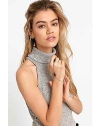 Urban Outfitters | Metallic Black Enamel Ring Hand Chain In Silver | Lyst
