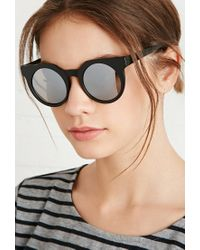 Forever 21 - Black Round Sunglasses - Lyst