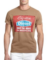DIESEL - Brown 'Only The Brave' Printed Cotton Tee for Men - Lyst