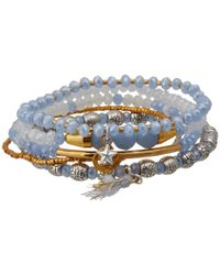 Chan Luu - Blue 5 Pack Stretch Bracelet in Silk Box Periwinkle Mix - Lyst