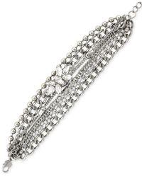 BCBGeneration | Metallic Rhodium-tone Multi-chain Stone Line Bracelet | Lyst