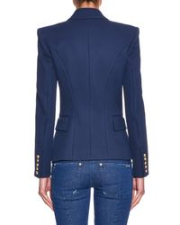 Balmain - Blue Double-Breasted Cotton-Piqué Jacket - Lyst