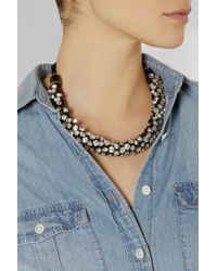 Isabel Marant - Metallic Gold-Tone, Crystal And Leather Necklace - Lyst