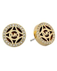 Michael Kors | Metallic Monogram Gold & Pave With Acetate Stud Earring | Lyst