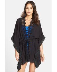 La Blanca - Black 'Costa Brava' Crochet Trim Kimono Sleeve Cover-Up - Lyst