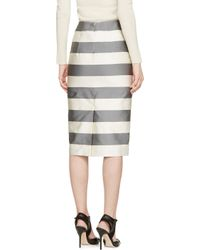 Burberry - Gray Grey And Cream Silk Blend Striped Skirt - Lyst