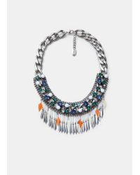 Mango | Blue Crystal Link Necklace | Lyst