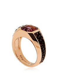 Ferragamo | Pink Galuchat Fine Jewellery Collection Ring | Lyst