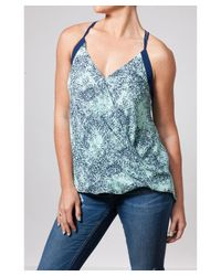 Bungalow 20 - Blue Navy And Mint Printed Overlap Front Top - Lyst