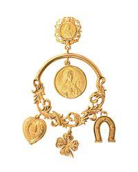 Dolce & Gabbana | Metallic Charm Hoop Earrings | Lyst