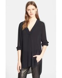 Vince | Black Long Sleeve V-neck Blouse | Lyst