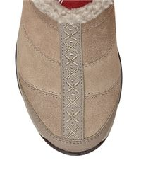 Easy Spirit | Brown Eilena Faux Fur-trimmed Suede Mules | Lyst