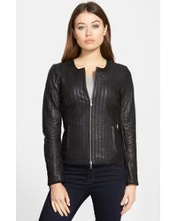 Lamarque | Black Funnel Collar Leather Jacket | Lyst