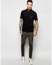 ASOS | Black Polo With Printed Pocket for Men | Lyst
