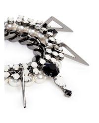 Joomi Lim - Metallic 'vertigo' Pearl Crystal Metal Fretwork Charm Bracelet - Lyst
