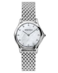 Emporio Armani - Metallic Diamond Index Bracelet Watch - Lyst