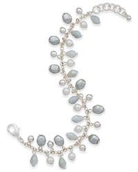 Charter Club - Silver-tone Gray Imitation Pearl Link Bracelet - Lyst