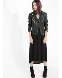 Mango - Black Textured-Panel Leather Jacket - Lyst