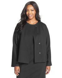Ellen Tracy | Black Stretch Knit Peplum Jacket | Lyst