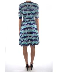 KENZO - Blue Torn Printed Sheer Detail Dress - Lyst