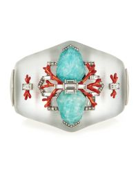 Alexis Bittar - Metallic Lucite Statement Cuff W/ Coral & Crystal Accents - Lyst