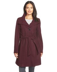 Gallery - Purple Belted Skirted Wool Blend Coat - Lyst