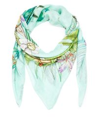 Swash London - Green Amazonia Print Silk Scarf - Lyst