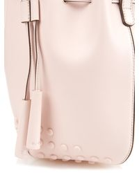 Tod's - Pink Mini Gommini Leather Bucket Bag - Lyst