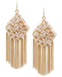 Kenneth Cole - Metallic Gold-tone Woven Fringe Earrings - Lyst