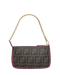 Fendi - Brown Logo Printed Coated Canvas Clutch - Lyst