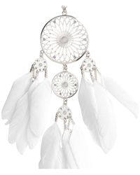 H&M - Metallic Necklace With Feather Pendant - Lyst