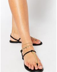 ASOS | Metallic Curve Pack Of 3 Fine Chain Anklet | Lyst