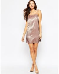ASOS - Pink Petite Exclusive Satin Mini Cami Dress With 90s High Neck & Tie Straps - Lyst